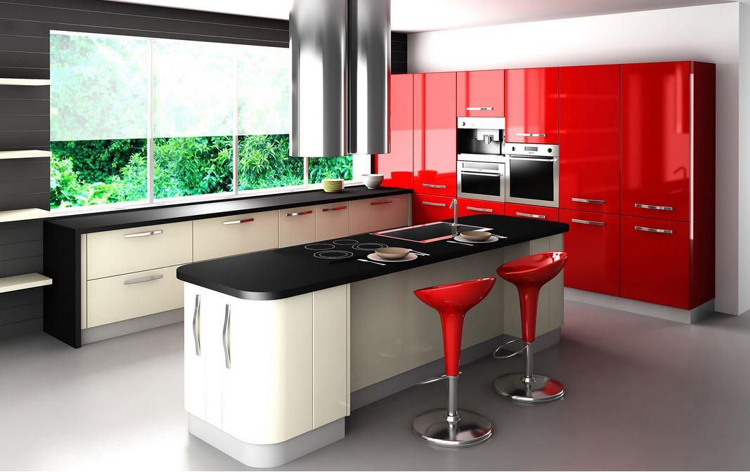 ...enquanto na cozinha, o vermelho estimula o apetite.