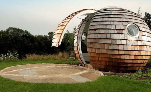 O Archipod é uma estrutura circular feita de madeira e fibra de vidro, com acabamento de gesso acartonado . Foto: Divulgação