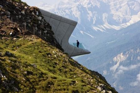 O 'Messner Mountain Museum Corones' está localizado em uma montanha