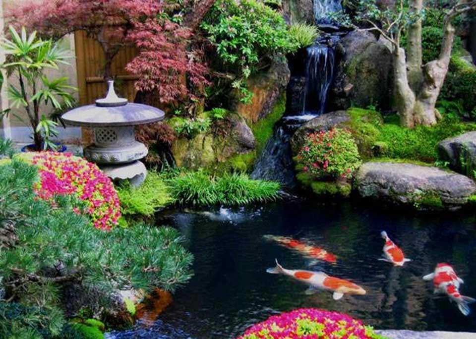 jardim japonês com carpas e a necessária lamparina em pedra.