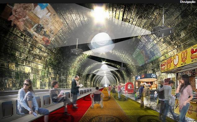 """Projeção de como ficaria o túnel da linha Circle com o """"Travelator"""""""